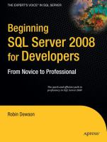 Cover image for Beginning SQL server 2008 for developers : from novice to professional