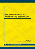 Cover image for Mechanical materials and manufacturing engineering II
