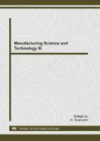 Cover image for Manufacturing science and technology III