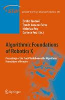 Cover image for Algorithmic foundations of robotics X : proceedings of the Tenth Workshop on the Algorithmic Foundations of Robotics