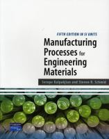 Cover image for Manufacturing processes for engineering materials SI