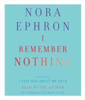 Cover image for I remember nothing [and other reflections]