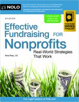 Cover image for EFFECTIVE FUNDRAISING FOR NONPROFITS : real-world strategies that work