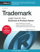 Cover image for Trademark : legal care for your business & product name