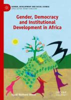 Gender, democracy and institutional development in Africa /