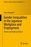 Gender inequalities in Japanese workplace and employment : theories and empirical evidence /